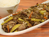満点おかずきざみ昆布と豚肉の炒め煮+さつまいも