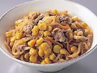 満点おかず切り干し大根と豚肉の煮物+コーン