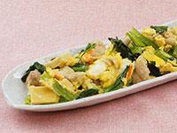 満点おかず高野豆腐と鶏肉の卵とじ+小松菜